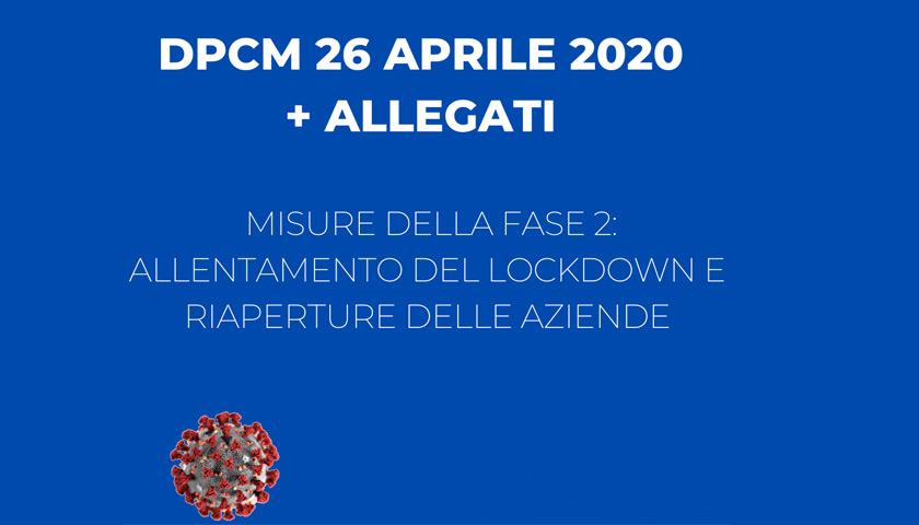 Decreto 26 Aprile 2020 riapertura aziende dal 4 Maggio